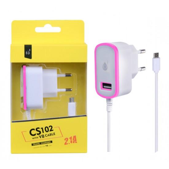 Nabíječka PLUS MicroUSB s USB výstupem 5V/ 2,1A, růžová