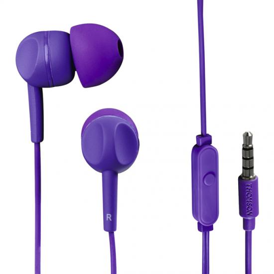 Thomson slúchadlá s mikrofónom EAR3005, silikónové štuple, fialové